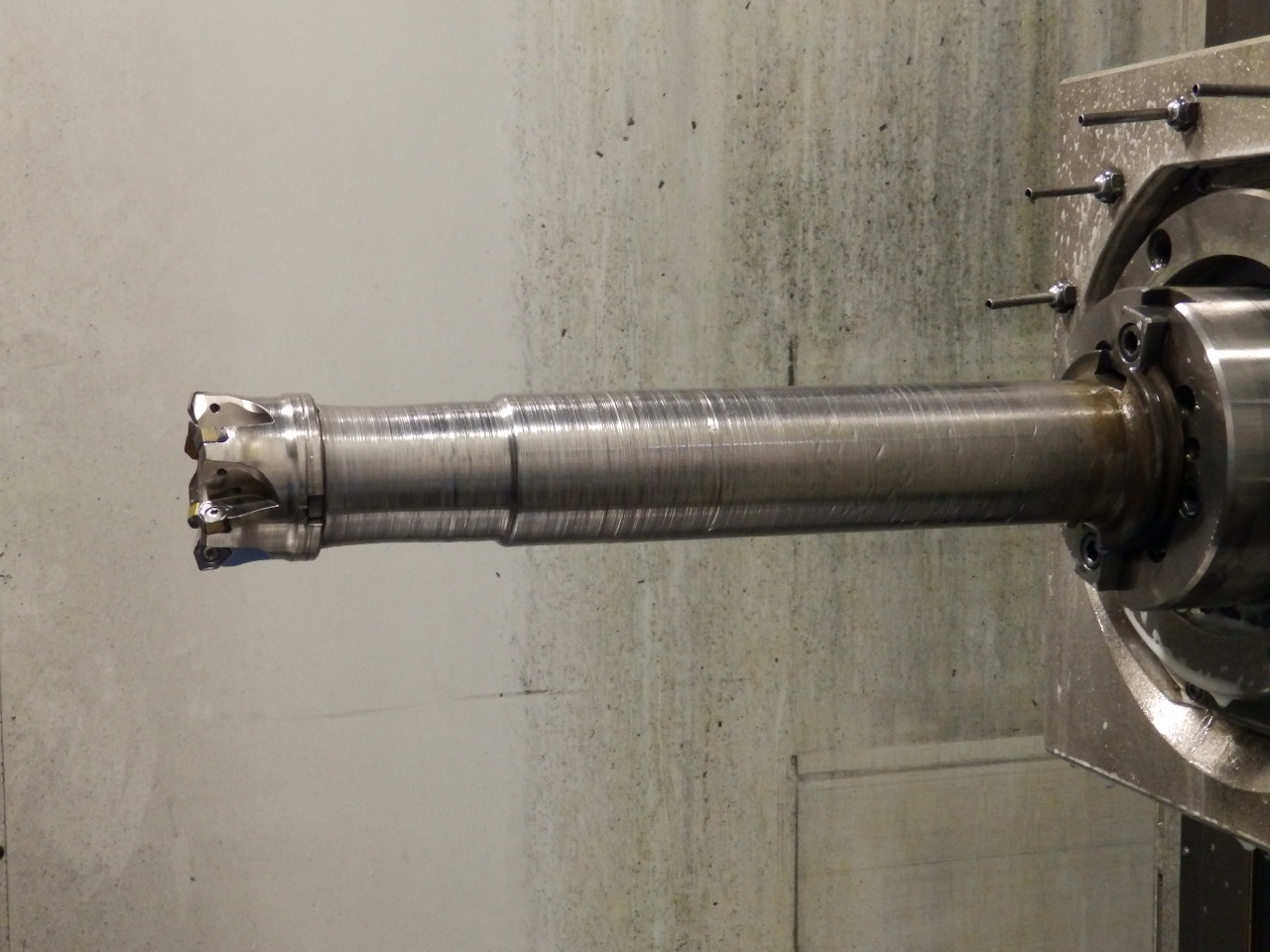 High Feed Milling Large Steel Castings - Seco High Feed Milling Cutter on 16 Inch Long Extension